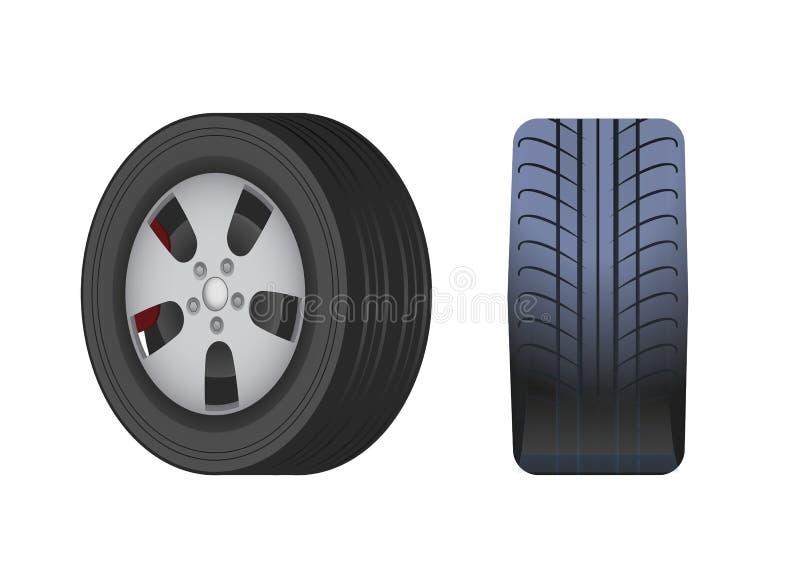 La rueda de coche de goma, vector negro del neumático aisló el icono ilustración del vector