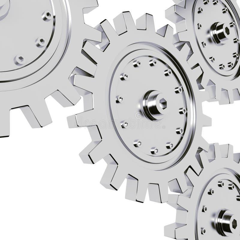 la rueda de engranaje del metal 3d rinde en el fondo blanco libre illustration