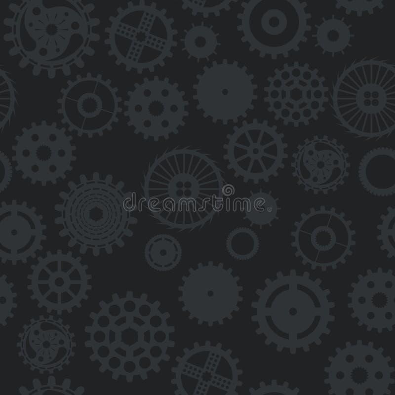 La rueda de engranaje inconsútil del fondo de la textura del modelo da vuelta a oscuridad en bla ilustración del vector