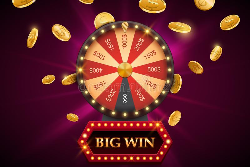 La rueda de la fortuna con la bandera grande del triunfo, fondo brillante del casino con caer acuña libre illustration
