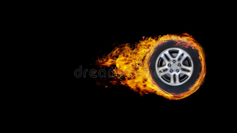 La rueda o el círculo de coche envolvió en las llamas aisladas en backgr negro imagen de archivo libre de regalías