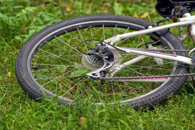 La rueda posterior de la bicicleta que miente en la hierba fotografía de archivo libre de regalías