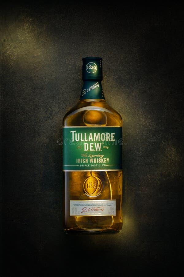 La rugiada di Tullamore è una marca di b prodotta whiskey irlandese mescolata immagine stock