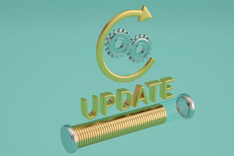 La ruota dell'aggiornamento e di ingranaggio di parola con la freccia su fondo blu 3d immagini stock libere da diritti