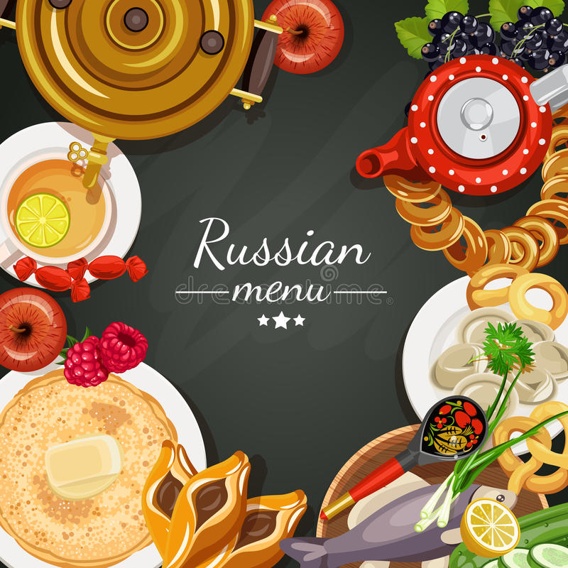 La Russia Fondo del menu Cucina russa royalty illustrazione gratis