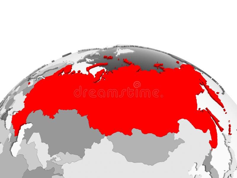 La Russia sul globo grigio illustrazione vettoriale