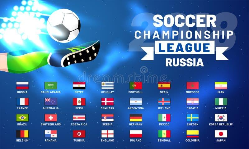 La Russia un calendario di 2018 coppe del Mondo Modello della tavola di programma di calcio illustrazione vettoriale
