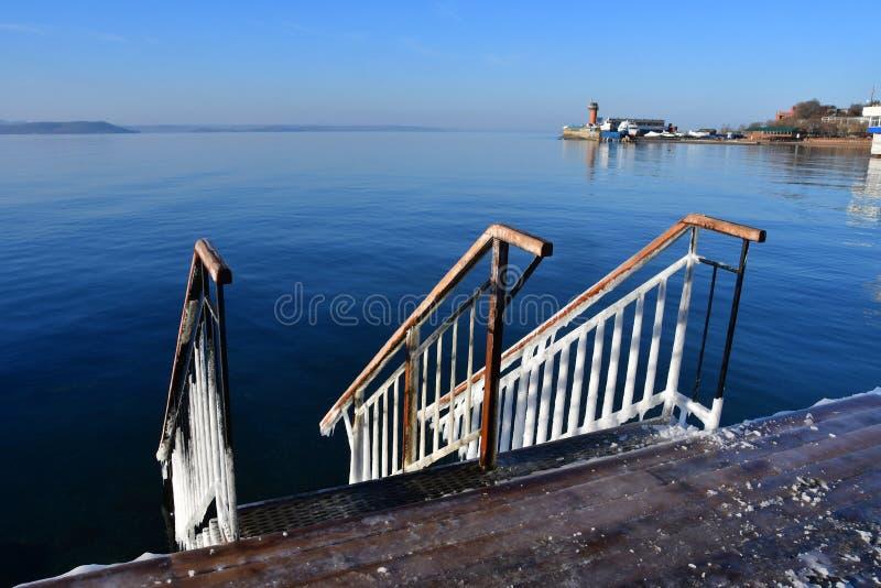 """La Russia, Vladivostok, baia dell'Amur nell'inverno vicino alla spiaggia """"giubileo """" fotografia stock libera da diritti"""