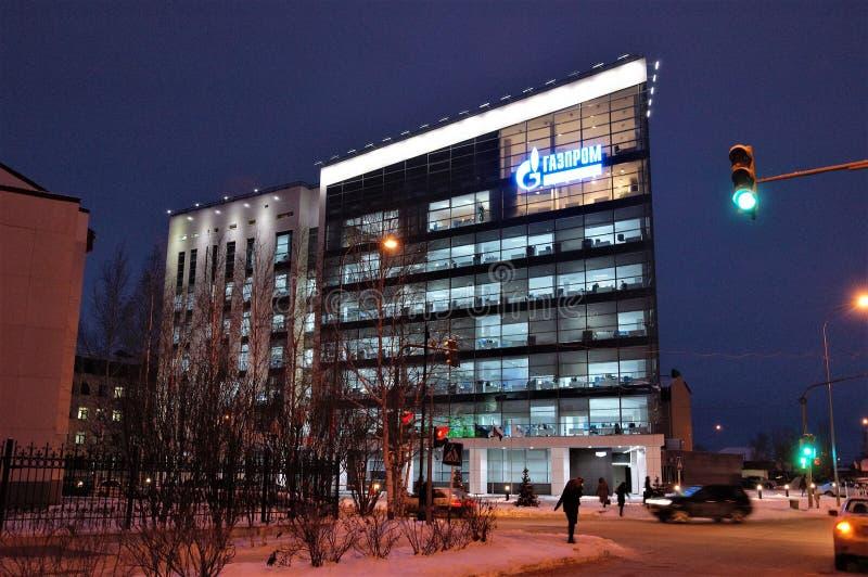 19 11 2013 la Russia, YUGRA, Chanty-Mansijsk, la costruzione della compagnia petrolifera Gazprom fotografia stock libera da diritti