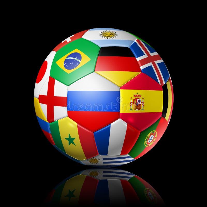 La Russie 2018 Ballon de football du football avec les drapeaux nationaux d'équipe sur le bl illustration de vecteur