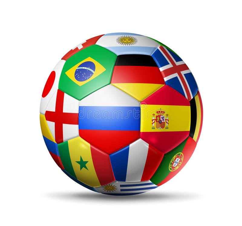 La Russie 2018 Ballon de football du football avec les drapeaux nationaux d'équipe sur le wh illustration libre de droits