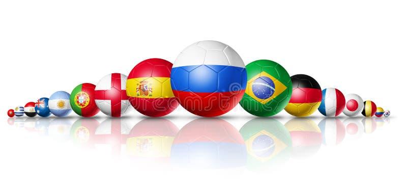 La Russie 2018 Ballons de football du football avec les drapeaux nationaux d'équipe illustration stock
