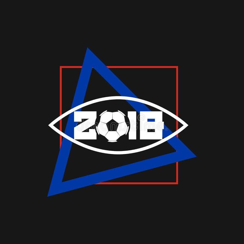 La Russie 2018 Cadre de ballon de football, de place et de triangle Art Vector Frame moderne Calibre pour l'affiche, la bannière  illustration stock