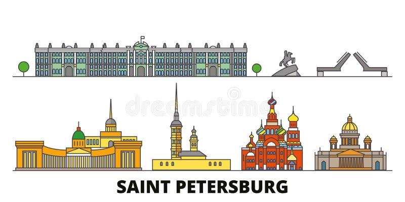 La Russie, illustration plate de vecteur de points de repère de St Petersbourg La Russie, ligne ville de St Petersbourg avec le v illustration de vecteur