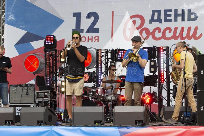 12-06-2019, la Russie, Moscou, jour de la Russie Concert de fête de l'orchestre de la bande 1l2 de musique en parc de Sokolniki J photo libre de droits