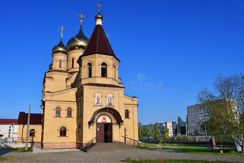 La Russie, la ville de Nevinnomyssk Église de séraphin de St de Sarov sur le boulevard de la paix photographie stock libre de droits