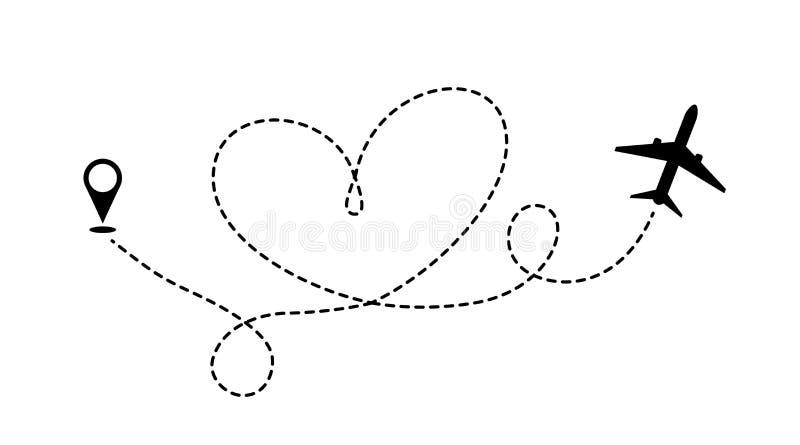 La ruta del viaje del amor en avión stock de ilustración