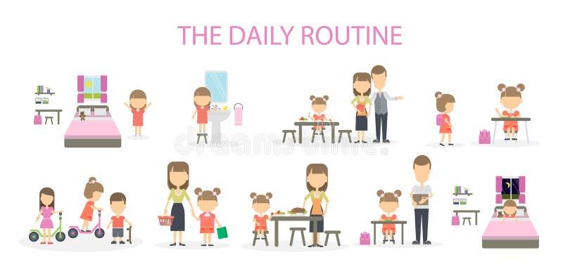 La rutina diaria stock de ilustración