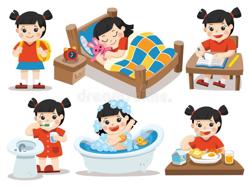 La rutina diaria de la muchacha asiática en un fondo blanco stock de ilustración