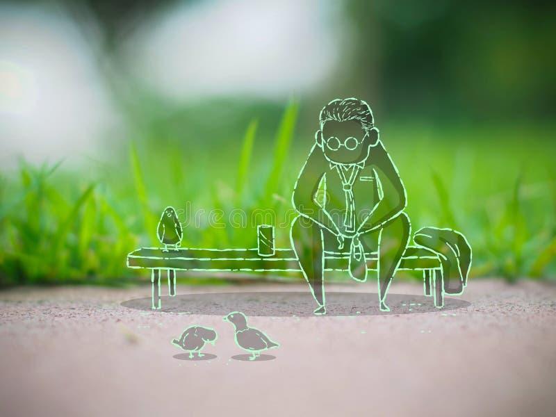 La séance d'homme détendent en alimentant des oiseaux en parc illustration de vecteur
