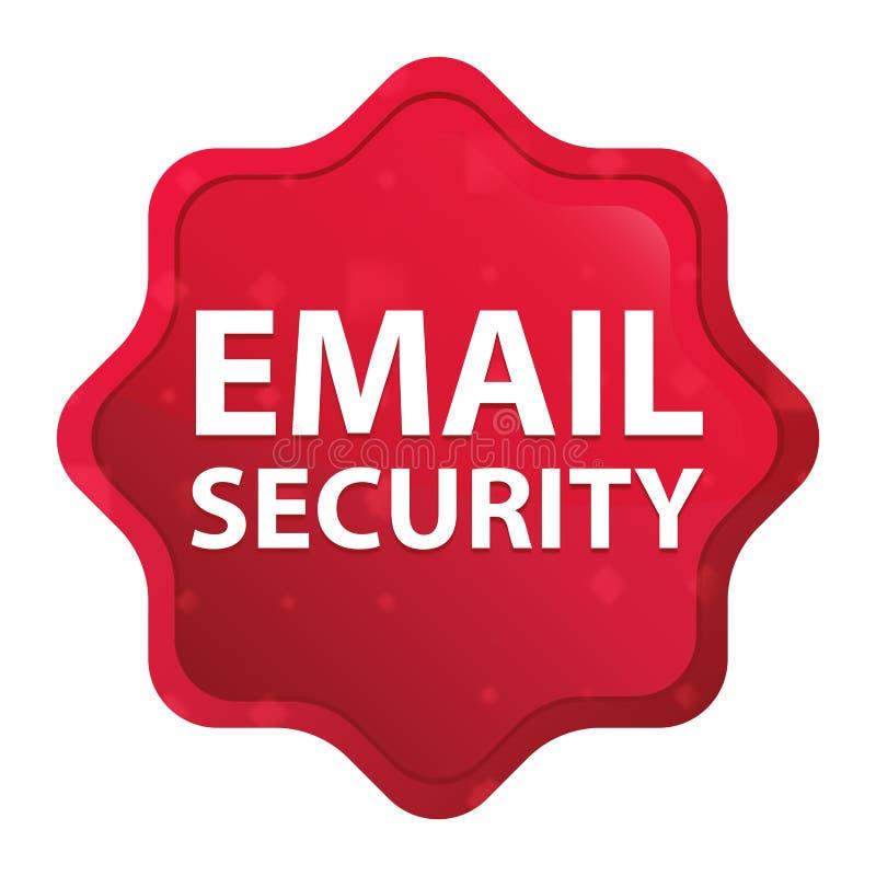 La sécurité d'email brumeuse a monté bouton rouge d'autocollant de starburst illustration stock