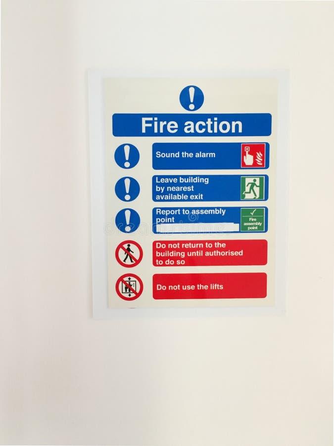 La sécurité de lieu de travail de bureau d'action de feu ordonne l'information images stock