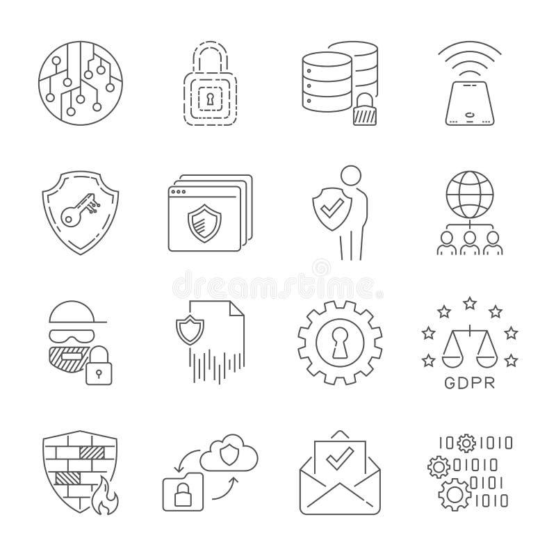 La sécurité et les données de Cyber se protègent Les informations de sécurité d'Internet, intimité, technologie d'innovation, con illustration de vecteur