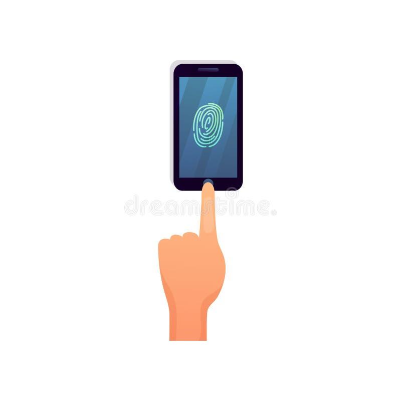 La sécurité moderne d'empreinte digitale de smartphone, touchent pour ouvrir l'action illustration stock