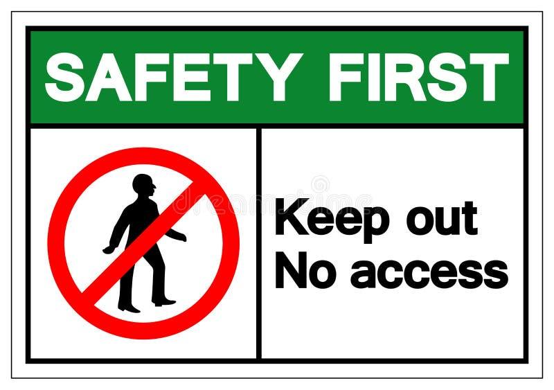 La sécurité n'empêchent d'entrer d'abord aucun signe de symbole d'Access, l'illustration de vecteur, isolat sur le label blanc de illustration stock