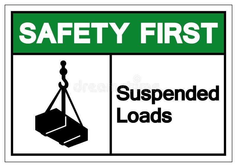 La sécurité a suspendu la première fois le signe de symbole de charges, illustration de vecteur, d'isolement sur le label blanc d illustration stock