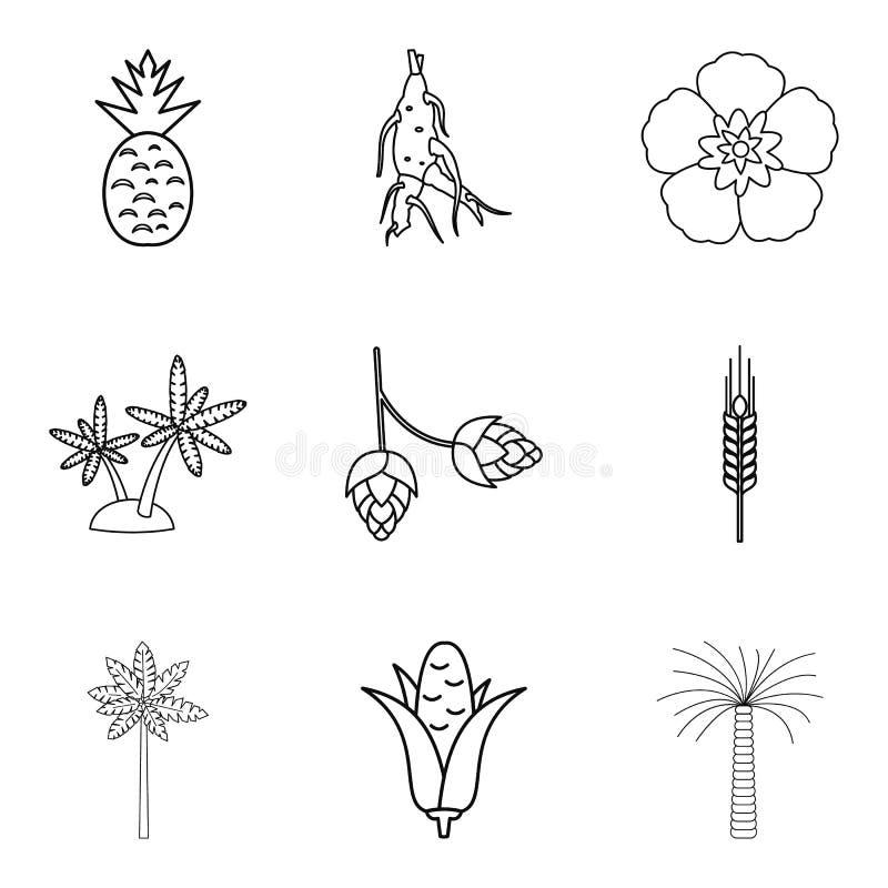 La sélection des icônes végétales a placé, décrit le style illustration stock