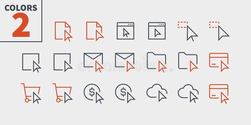 La sélection et le vecteur Bien-ouvré parfait de pixel des curseurs UI rayent légèrement les icônes 48x48 prêtes pour la grille 2 illustration libre de droits