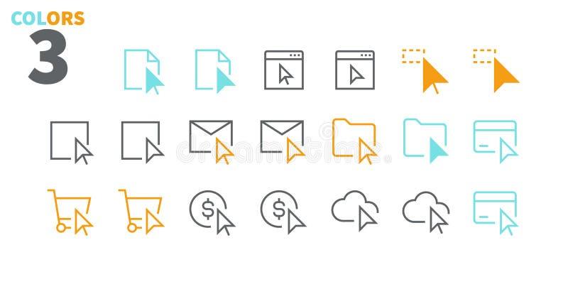 La sélection et le vecteur Bien-ouvré parfait de pixel des curseurs UI rayent légèrement les icônes 48x48 prêtes pour la grille 2 illustration stock