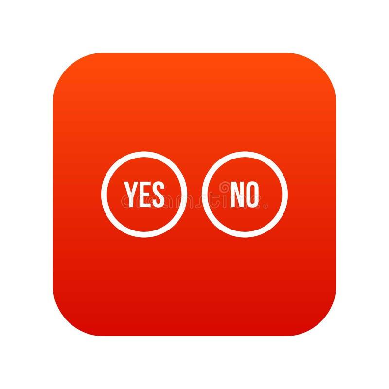 La sélection se boutonne oui et aucun rouge numérique d'icône illustration libre de droits