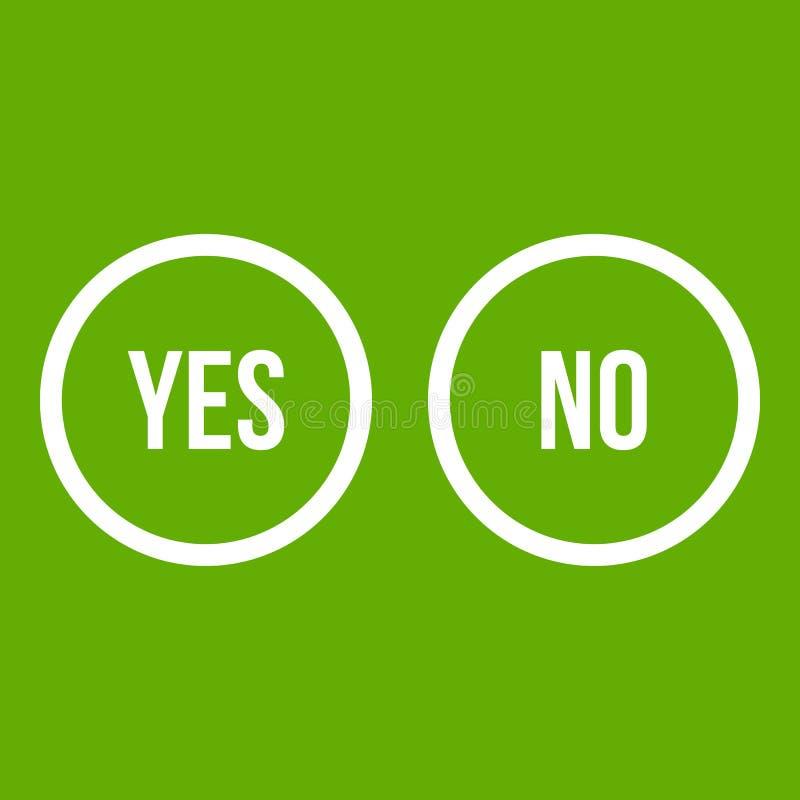 La sélection se boutonne oui et aucun vert d'icône illustration libre de droits