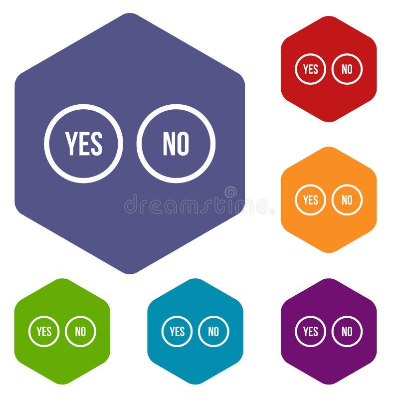 La sélection se boutonne oui et aucune icônes réglées illustration stock