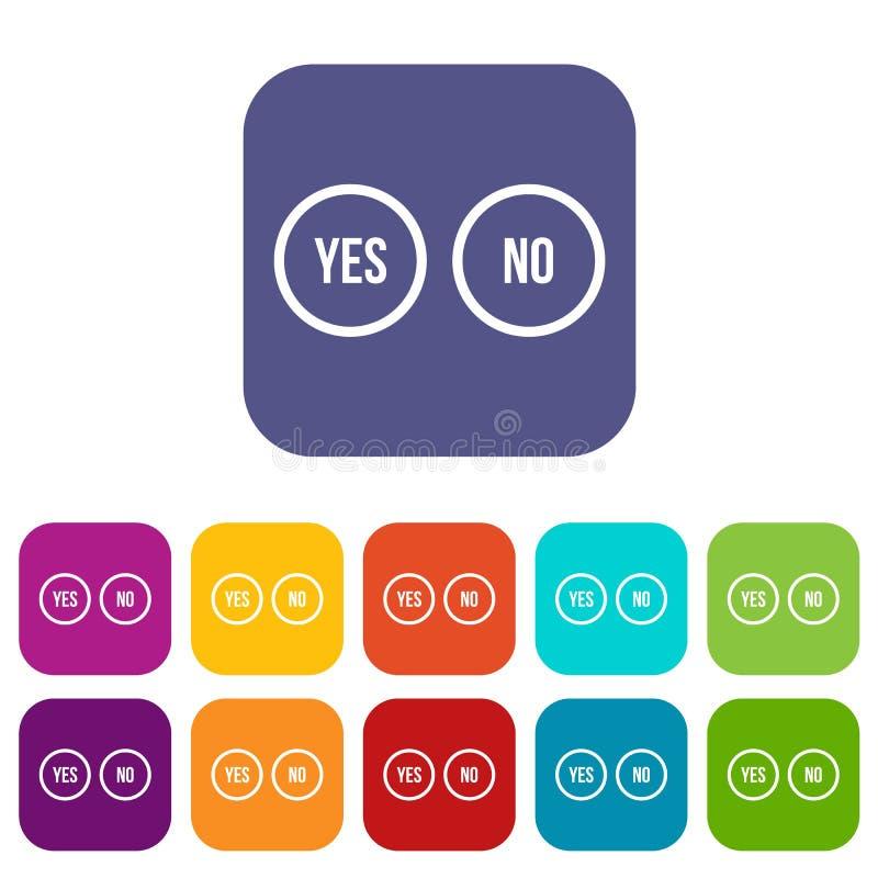 La sélection se boutonne oui et aucune icônes réglées illustration libre de droits