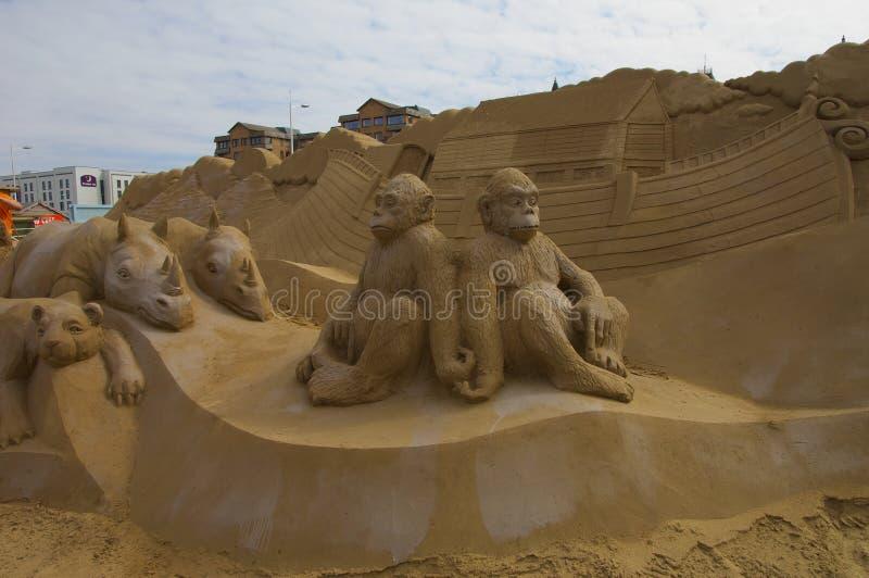 La sabbia scolpisce l'arca di Noè fotografia stock