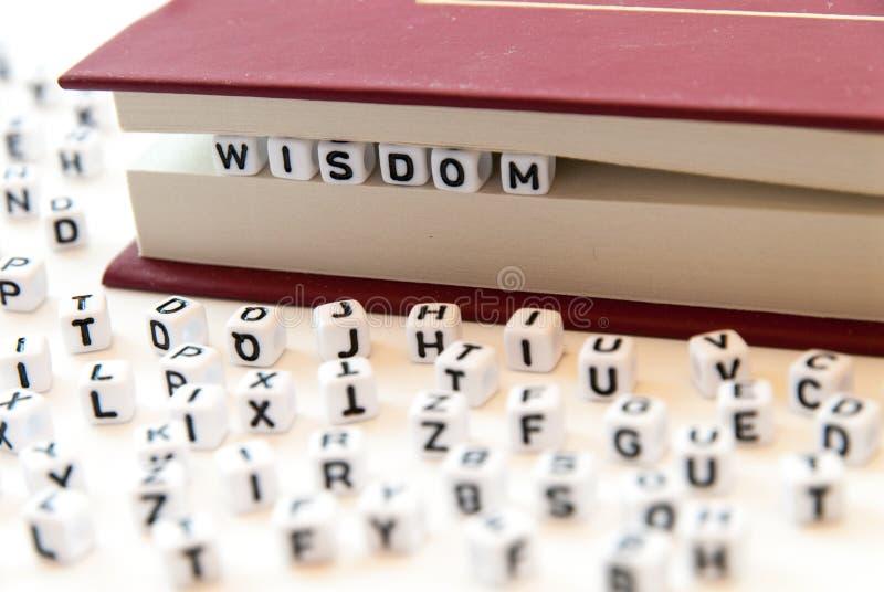 La saggezza di parola scritta con le lettere fra un libro impagina il fondo bianco con le lettere sparse intorno al concetto dell fotografie stock libere da diritti
