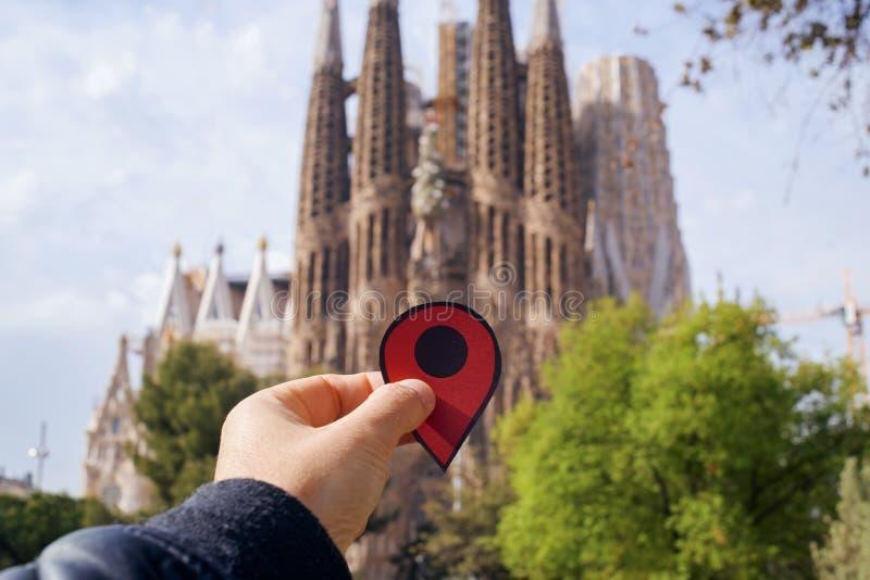 La Sagrada Familia i Barcelona, Spanien arkivfoto