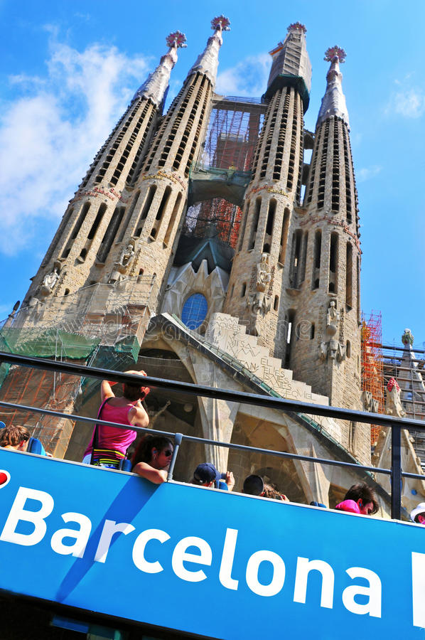 La Sagrada Familia i Barcelona, Spanien royaltyfri bild