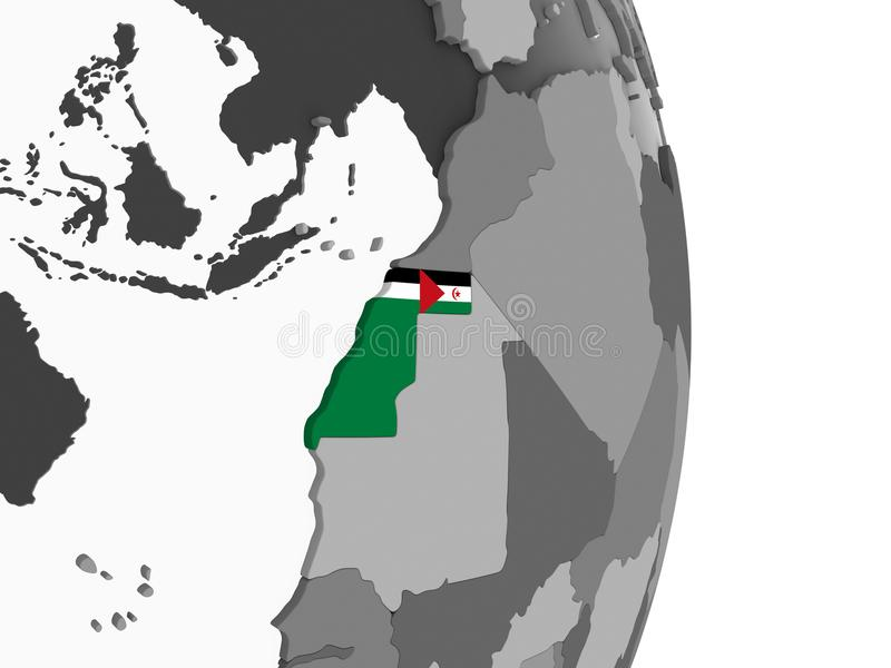 La Sahara occidental avec le drapeau sur le globe illustration de vecteur