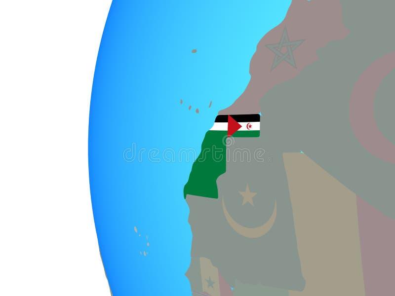 La Sahara occidental avec le drapeau sur le globe illustration stock