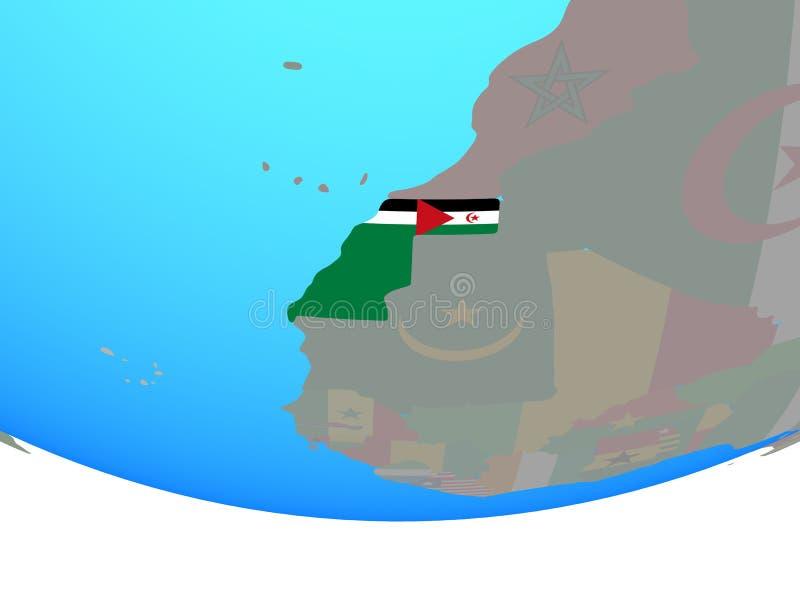 La Sahara occidental avec le drapeau sur le globe illustration libre de droits