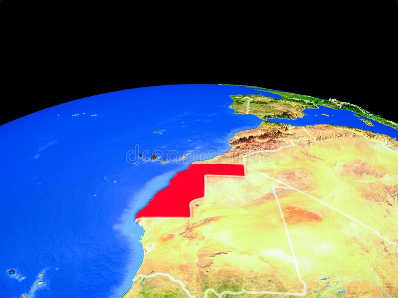 La Sahara occidental de l'espace sur terre illustration stock