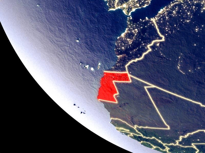 La Sahara occidental de l'espace sur terre illustration de vecteur