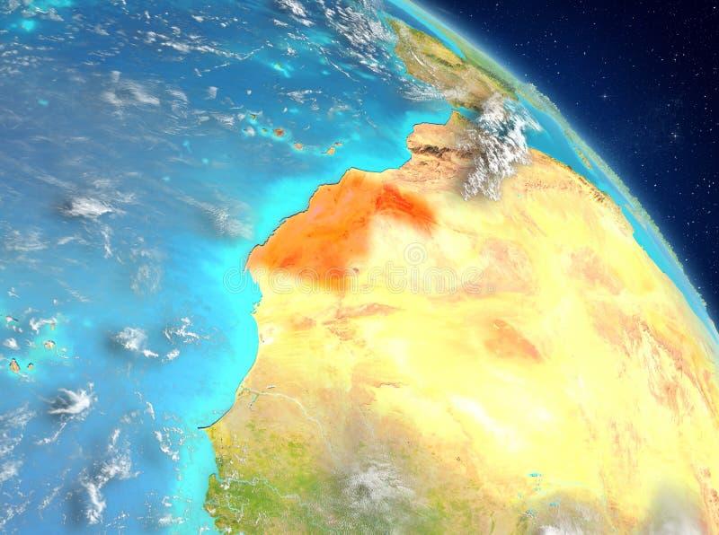 La Sahara occidental de l'orbite illustration stock