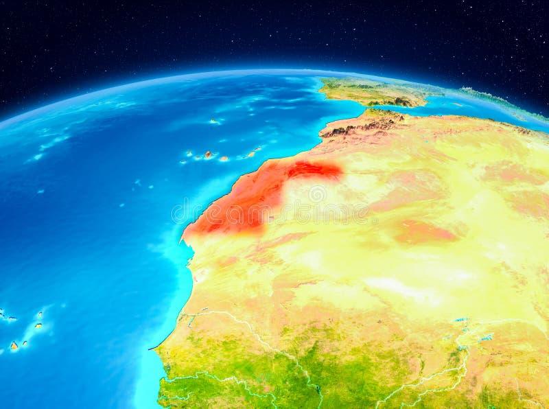 La Sahara occidental de l'orbite illustration de vecteur