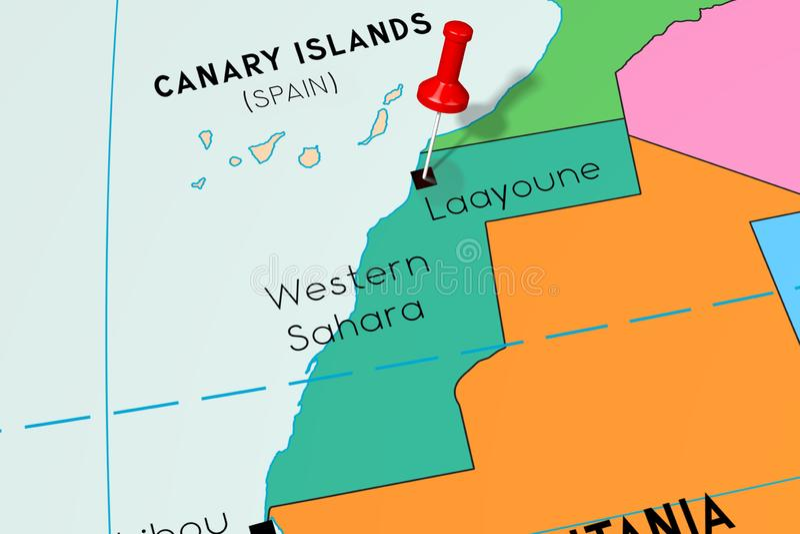 La Sahara occidental, Laayoune - capitale, goupillée sur la carte politique illustration libre de droits