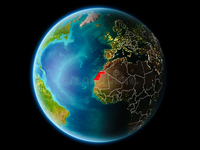 La Sahara occidental le soir illustration stock